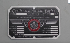 Piper Cub Cessna 140 C85 Nice! Aeronca Continental Motors Engine Data Plate