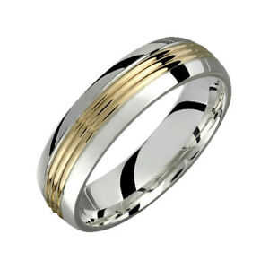 .925 Sterling Silver 10K Yellow Gold Band Comfort Fit 6mm Wide Wedding Ring
