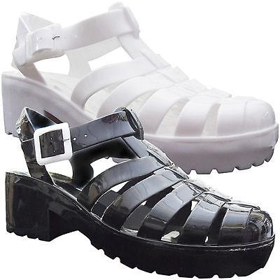 Nuevas señoras Gladiador media baja bloque Taco Plataforma Jelly Sandalia Calzado De Playa Tamaño