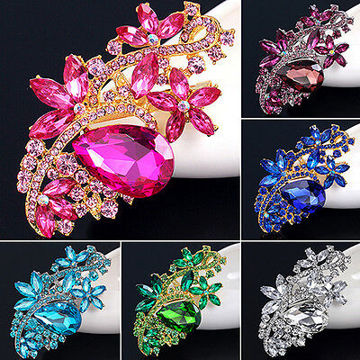 New Perfect Waterdrop Flower Rhinestone Crystal Brooches Pin Bouquet Wedding