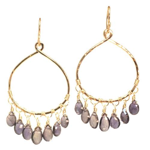 Bali 03 ~ Drop Hoop Earrings with Stone and Metal Choice