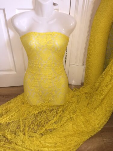 """5 MTR BRIGHT YELLOW LACE NET LYCRA STRETCH FABRIC..60/"""" WIDE £17.49 SPECIAL OFFER"""