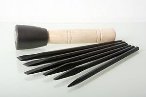 Italian-Stone-Carving-Fire-Sharp-Carbon-Steel-6pc-Chisel-Set-with-Dummy-Hammer