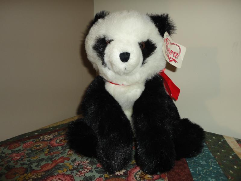Ganz 1997 POOKIE PANDA Bear All Tags Heart Ribbon