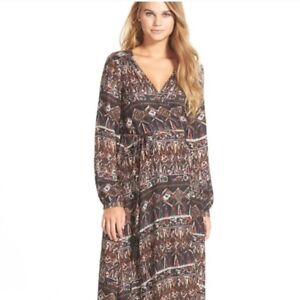 VOLCOM-Stone-Row-Collection-Wrapture-Long-Sleeve-Maxi-Dress-Festival-SZ-M