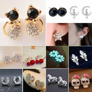 Womens-Mini-Flower-Cat-Crystal-Rhinestone-Ear-Stud-Earrings-Wedding-Jewellery