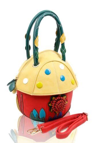 le cadeau champignon pour idéal pour sur Noël Sac 3d un main rose avec jaune dessus de femme de rouge poignée Noir à Forme blanc 4fXaz