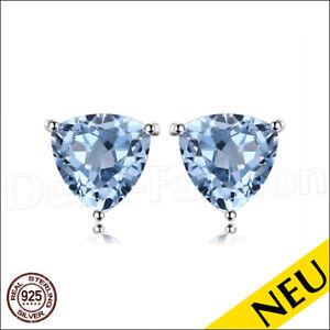 NEU-Echt-Blau-TOPAS-925-Sterling-Silber-TRIANGLE-Ohrstecker-SKY-Blue-Luxus