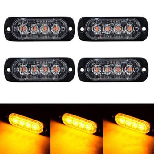 UK 4 LED Amber Car Emergency Flashing Light vehicle Strobe Flash Warning 12//24V