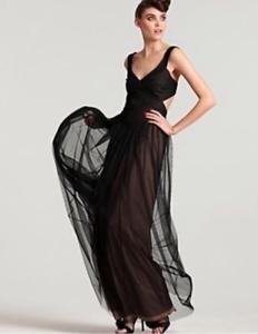 BCBG MaxAzria Mara Navy Blau Tulle Mesh Cut-away Gown Prom Dress 12 L Large