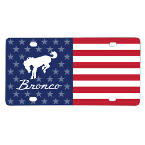 Ford Bronco Logo USA Flag Graphic on Aluminum Metal ...