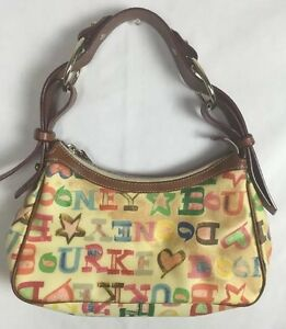 Image Is Loading Dooney Amp Bourke Vintage Multicolor Letter Rainbow Purse