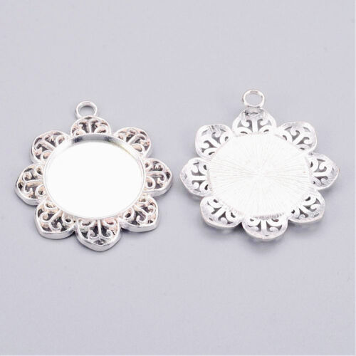5 Round Flower Silver Plated Cabochon Frame Settings Pendants Fit 21mm 008