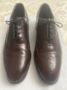 JOHNSTON & MURPHY Aristocraft Brown Leather Wingtip Oxford Dress Men Shoes 12D/B