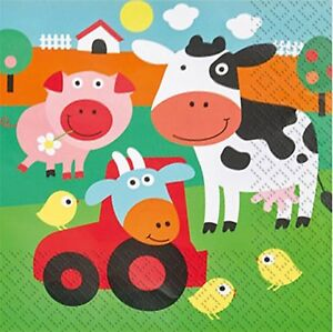 Boys Girls Toddlers Farmyard Fun Animal Birthday Party Paper Tableware Napkins