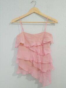 BCBG MAXAZRIA Women's Blouse Top Sleeveless Ruffles 100% Silk Pink Color. Size 0