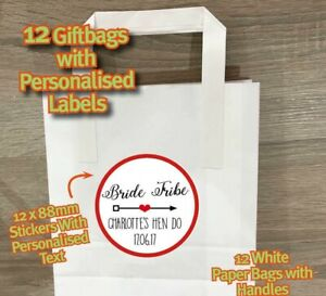 BRIDE TRIBE PERSONALISED hen party do weekend night gift bag stickers labels 487