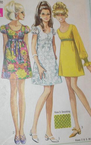Vintage 1960s Simplicity 7631 A Line Babydoll Dress Pattern 34B sz 12