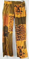 F.b. Malik Women's 8 31x32 Stretch Golden Jungle Theme Side Zipper Pants
