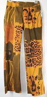F.b. Malik Women's 12 34x32 Stretch Golden Jungle Theme Side Zipper Pants