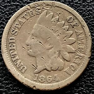 1864-Indian-Head-Cent-1c-Circulated-One-Penny-15659