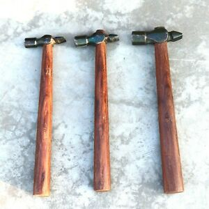 Set-of-3-Black-Iron-Hammer-Blacksmith-Wooden-Handle-Collectible