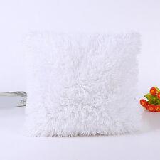 White Soft Plush Square Pillow Case Sofa Waist Throw Cushion Cover Home Decor