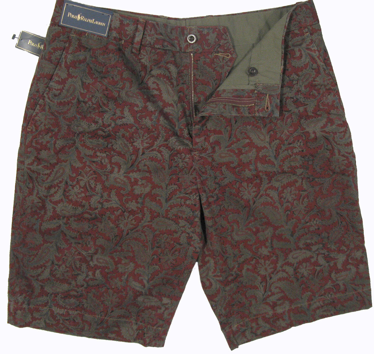 NEW  Polo Ralph Lauren Handsome Paisley Shorts   38  Burgundy & Olive Print