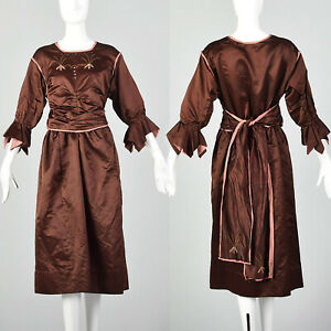 Grand 1910 S Soie Jour Robe Edwardian Belle Epoque Marron Rose Antique 1920 S Vintage Ebay