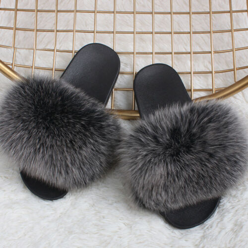 Women Artificial Fox Fur Fuzzy Furry Slippers Comfort Sliders Sandals Shoes Size