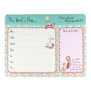Born To Be Organised Weekly Planner Pad Humour Desk Home Office