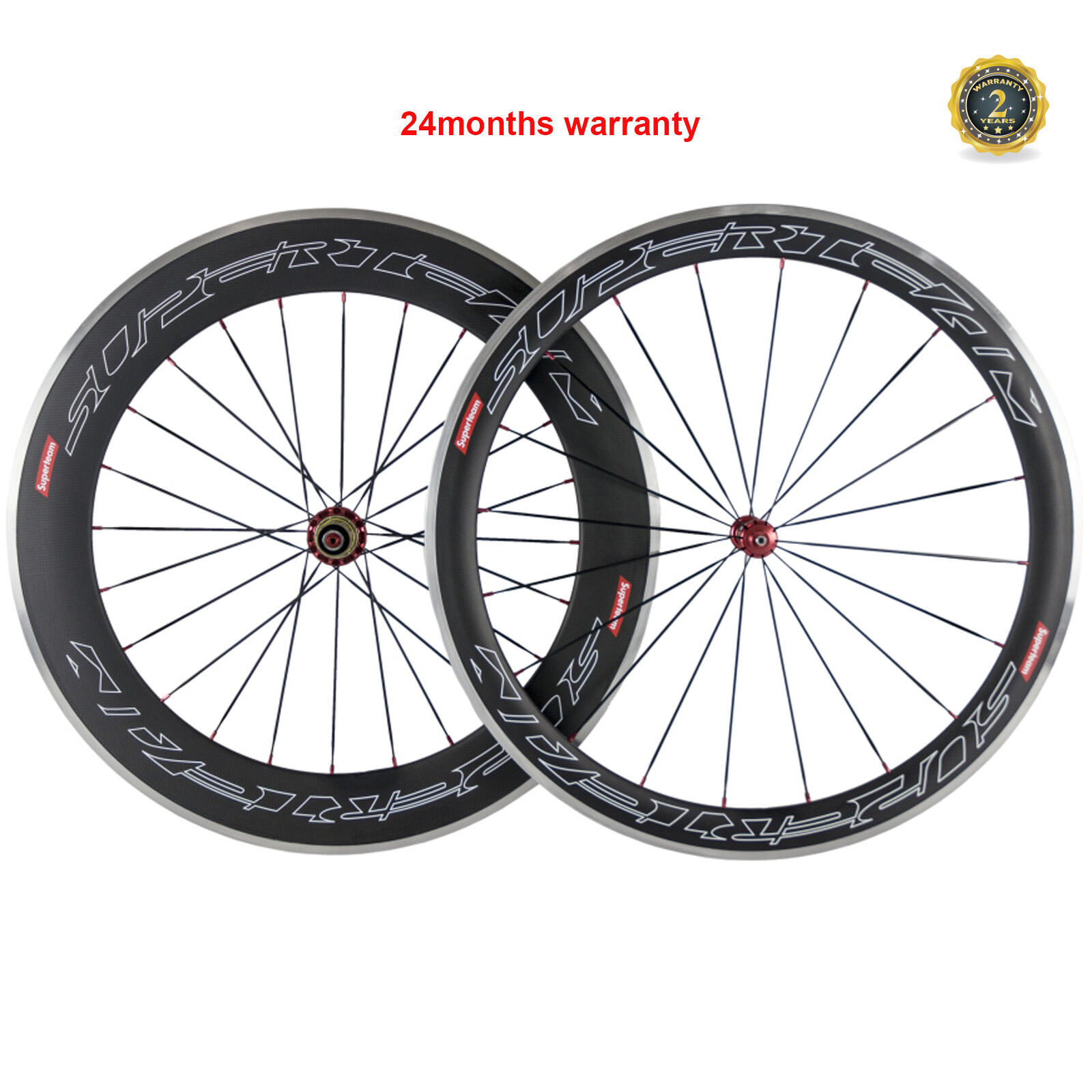 Superteam 50 80mm Aluminum Brake Carbon Wheelset 700C Bicycle Front&Rear  Wheels  discounts and more