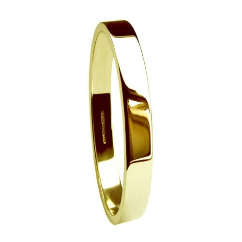 2mm 18ct Yellow Gold Flat Profile Wedding Rings Medium Bands 750 UK HM 2.3g NEW