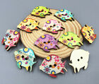 Wooden buttons 2-holes Sewing Mixed color Kissing Fish Scrapbooking Crafts 30mm