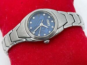 Roxy Ladies Wristwatch Silver Tone W/ Blue Face Women Watch