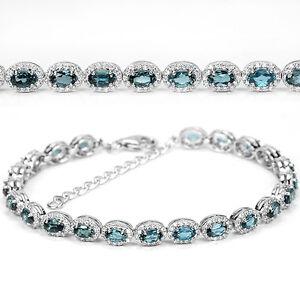 Armband-925-Sterling-Silber-Natural-5x3mm-Blautopas-amp-Weiss-Zirkonia-Neu