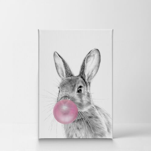Bunny Rabbit Animal Bubble Gum Art Pink CANVAS PRINT Drawing Black and White