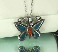"1960s NAVAJO STERLING BUTTERFLY Necklace~TURQUOISE & CORAL~OLD PAWN~25"" Chain"