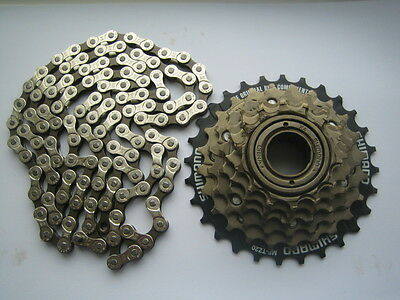Shimano 6 speed freewheel cycle / bike block screw on ratio 14-28 + KMC chain