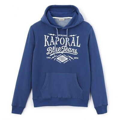 100% True Kaporal-mikky-hooded Sweatshirt With Felt Lettering Xl Blue Worker Bnwt Rrp £55 Reliable Performance Clothing, Shoes & Accessories