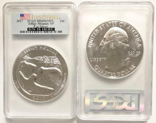 2017 5 oz Silver ATB Effigy Mounds National Monument Coin PCGS MS69 DMPL FS
