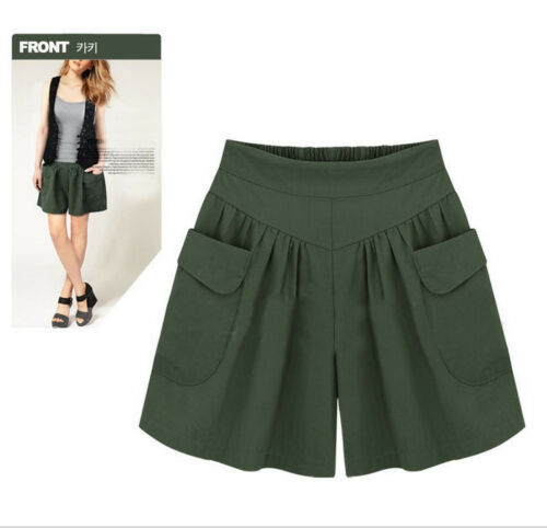 Women Plus Size Solid Loose Hot Pants Pockets Lady Summer Casual Pockets Shorts
