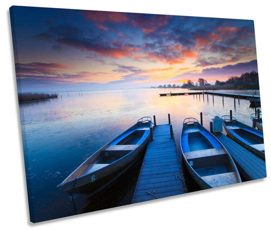 Sunset Lake Seascape Jetty SINGLE SINGLE SINGLE CANVAS WALL ART Picture Print f08a83
