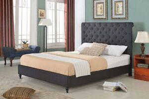 Home Life BLACK Upholstered Platform Bed Frame Slats Modern Home