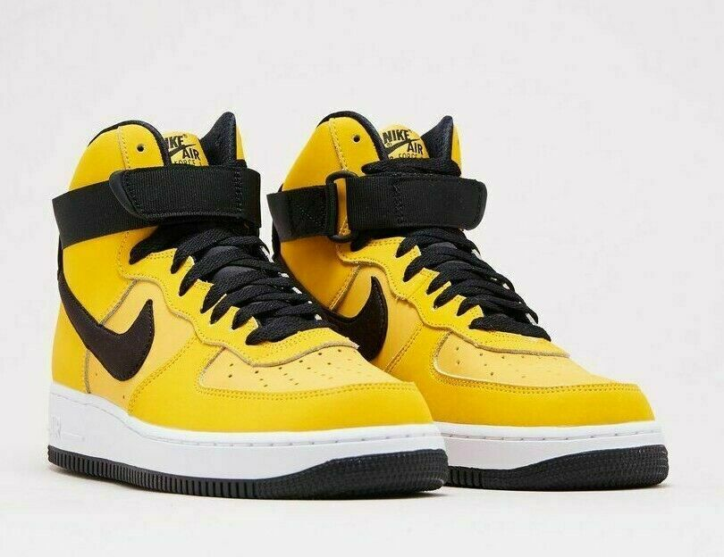NIKE AIR FORCE 1 HIGH '07 LTHR MEN'S SHOES YLLW OCHRE BLK AT4963-700 Size 8.5