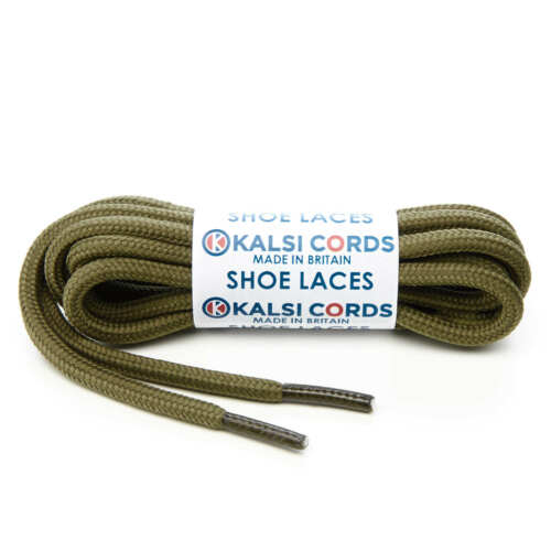 KHAKI OLIVE GREEN ROUND CORD SHOE LACES STRONG THICK ROPE SPORT TRAINER BOOT
