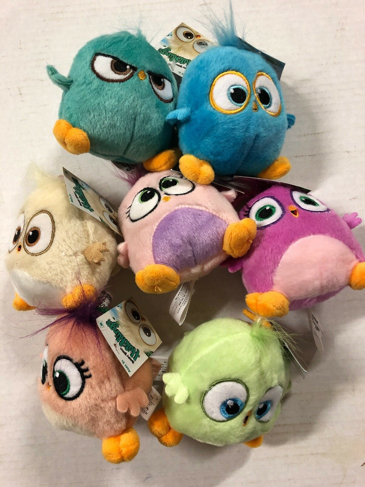 """Angry Birds Hatchems 4"""" Plush Clips, LOT Of All 7 Figures. So Cute And Cuddly"""