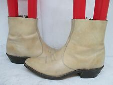 Code West Buck Skin Tan Leather Zip Ankle Cowboy Boots Size 9 D Style 5223 USA