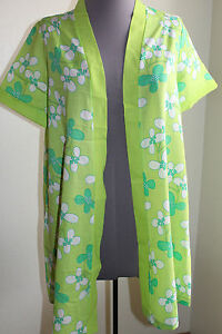 Sears-Vintage-70-039-s-Housecoat-Smock-S-Green-Floral-Short-Sleeve-FREE-SHIP