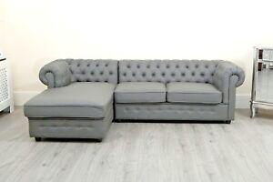 Miraculous Details About Chesterfield Black Crushed Velvet Corner Sofa Chaise Settee Fabric Grey New Pu Inzonedesignstudio Interior Chair Design Inzonedesignstudiocom